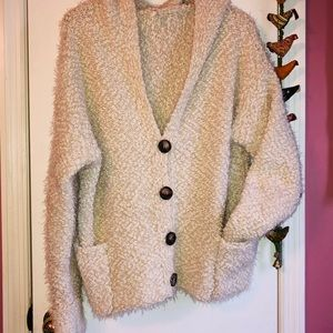 POL popcorn button up grandpa sweater with hood